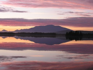reflective sunset of Mt. Katahdin