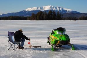 Ice Fishing on Millinocket Lake. Feat arctic cat snowmobile