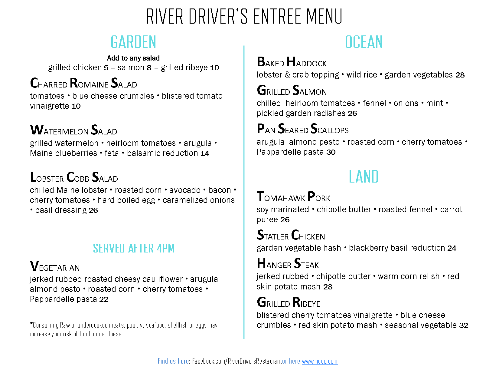 River Driver's restaurant summer dinner menu 2019