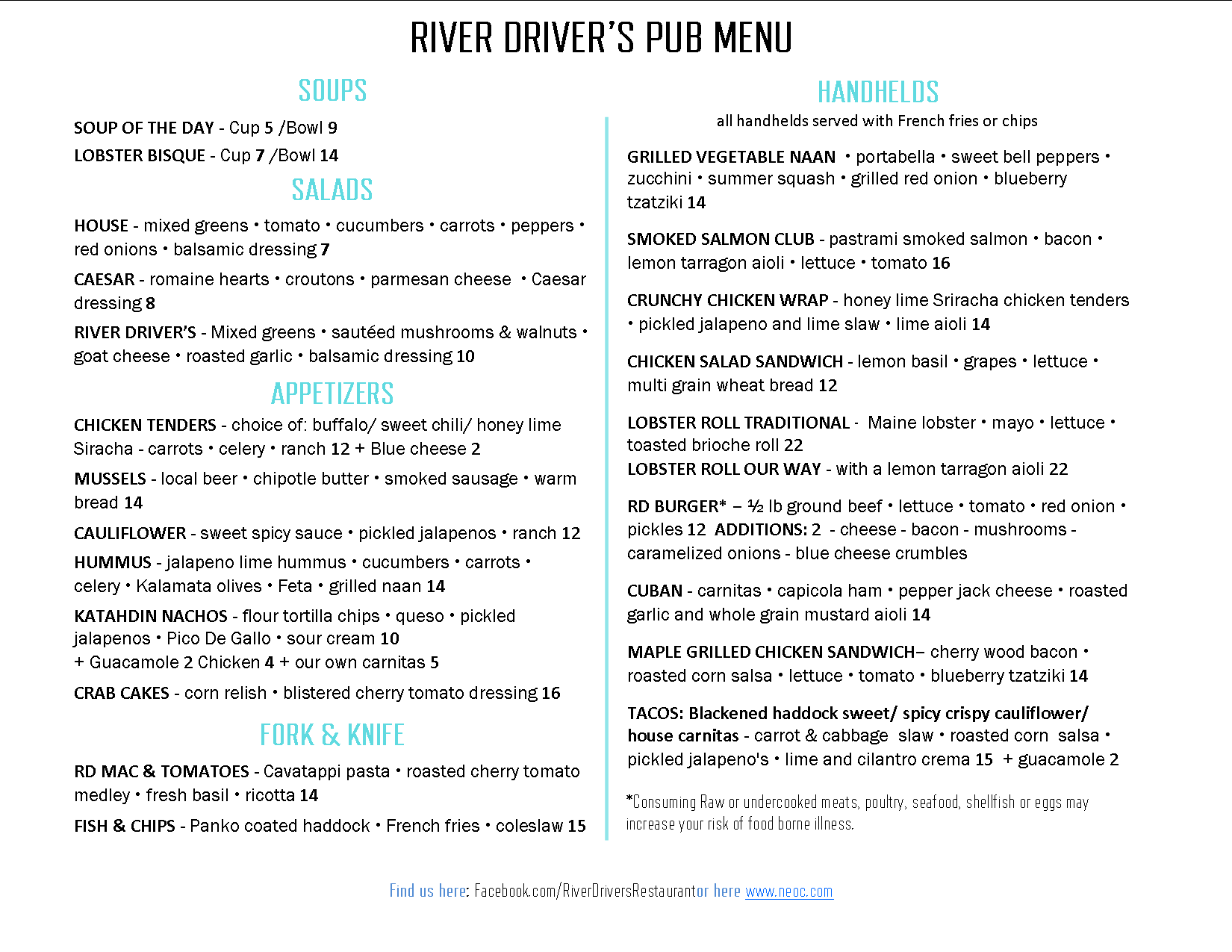 Summer River Driver's Pub Menu