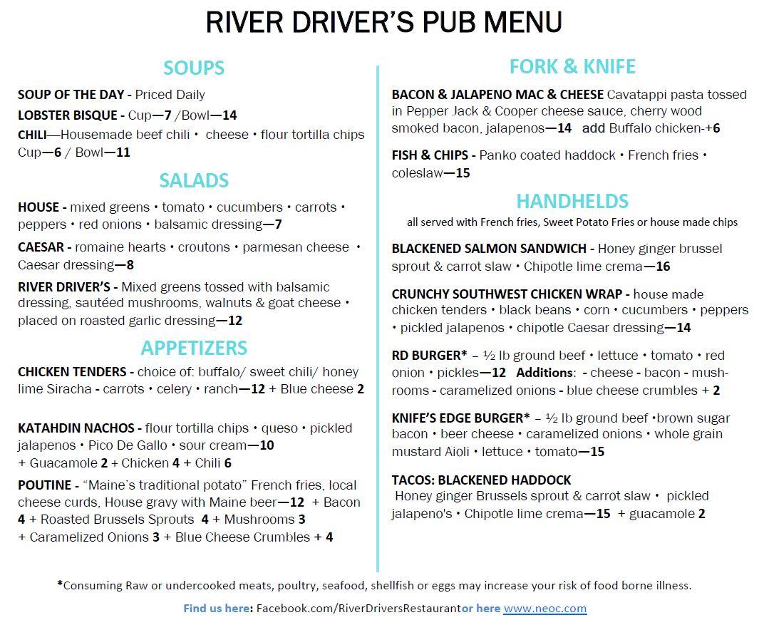 River Driver's Pub menu