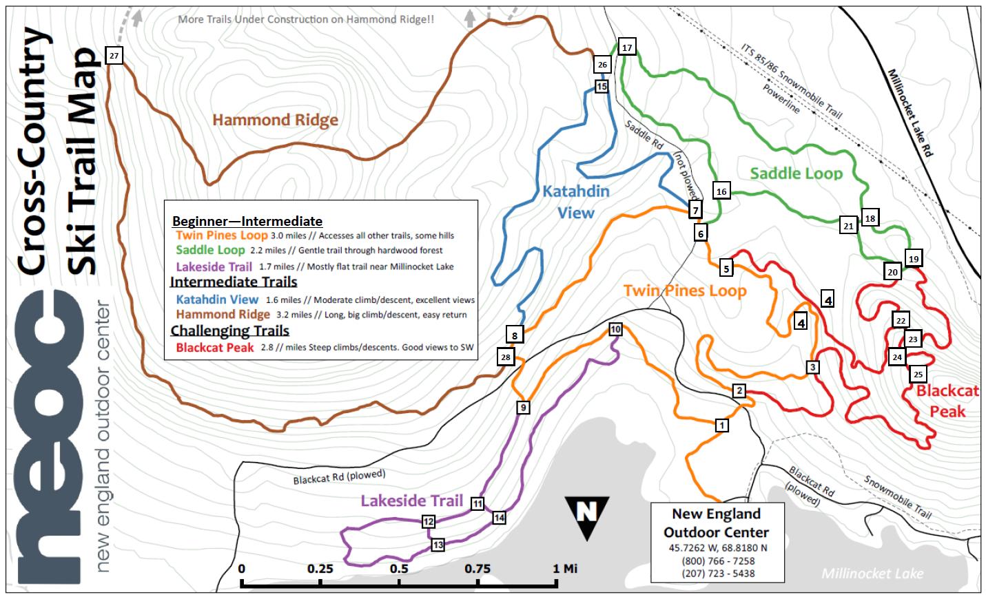 Cross country ski trails at Katahdin Maine   Trailside Lodging