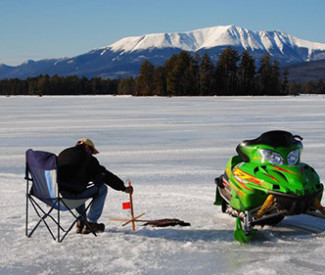 ice fishing on Millinocket lake