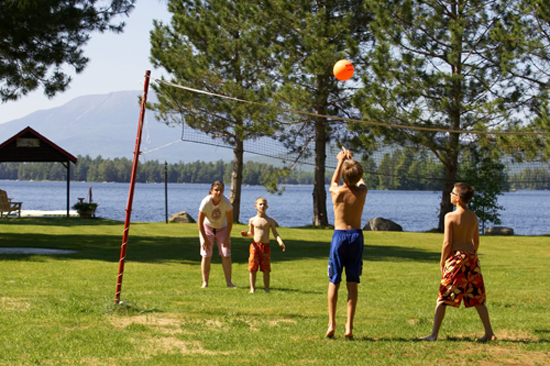 Volleyball and other backyard games are fun for the entire family.