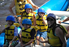 Family safety while whitewater rafting