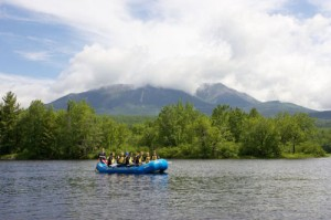 Katahdin backdrop on whitewater rafting adventure