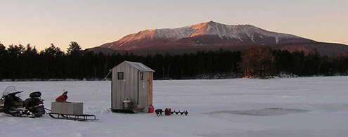 Ice shack in front of Katahdin